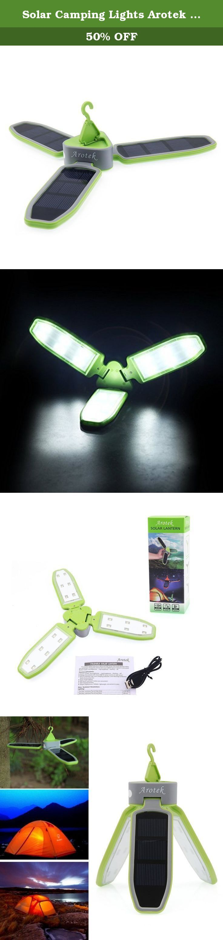 Solar Camping Lights Arotek Collapsible 18-LED Bright Clover Outdoor Tent Lantern Portable Rechargeable Lighting Lamp Powered by USB and Solar Panel with 3-mode Brightness (Green). Have you experienced tent lantern went dead halfway through camping trip? Have you experienced carrying large and heavy camping lamp during outdoor activities? Arotek Clover Camping Lamp, in elegant appearance, foldable, lightweight and convenient, offers an ideal lighting solution to your outdoor adventure....