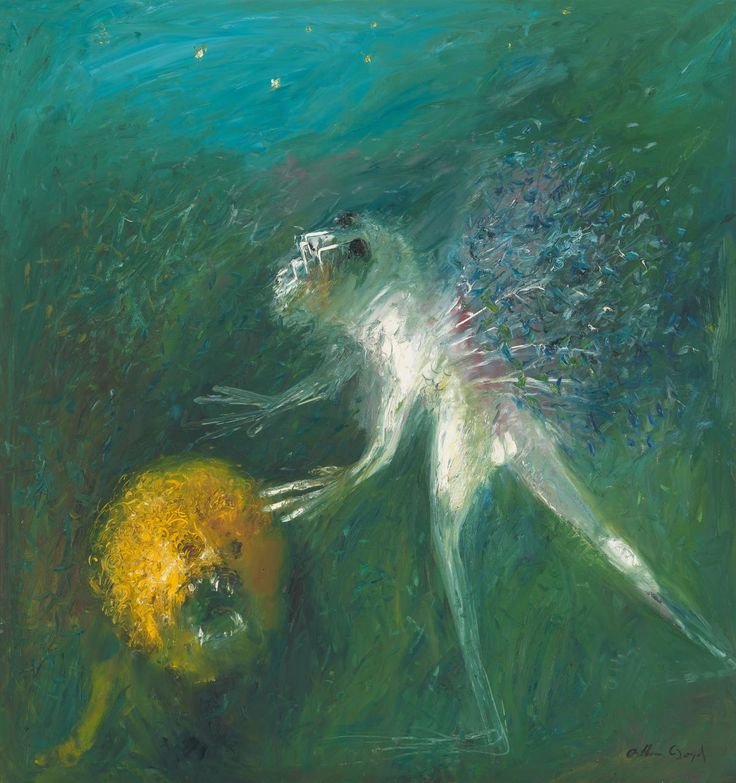 Nebuchadnezzar, blind on a starry night with lion's head | Arthur BOYD | NGV
