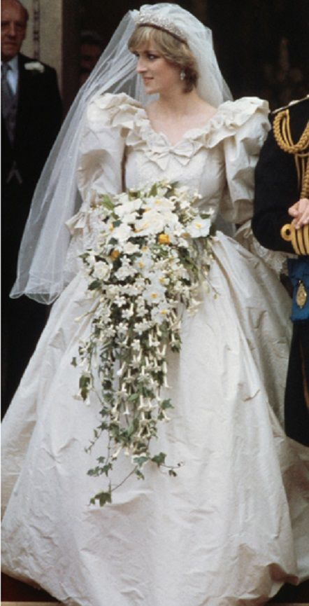 Princess Diana, 1981 - The late Princess Diana incorporated all the details of an iconic royal gown, including frills, flounces and bows, sumptuous fabrics, jewels, embroidered lace, crinolines and corsetry and a never-ending train.