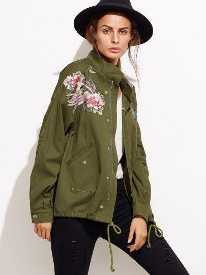 Olive Green Drop Shoulder Embroidered Drawstring Jacket
