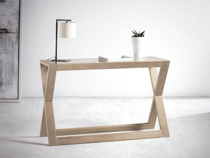 Consola JAZZ de Baladía & Valklein. De madera de teca color Café, Miel, Nature, Nature Blanco o Negro. Auxiliar para recibidor de estilo contemporáneo.