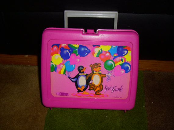 Lisa Frank vintage plastic lunch box penguin and bear by 4JOY2YOU