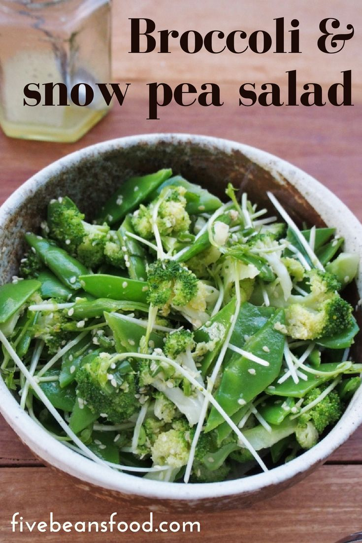 Delicious and healthy broccoli and snow pea salad with sesame seeds