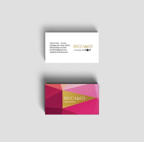 Becca double sided business card  Instant download by deideigraphic on Etsy