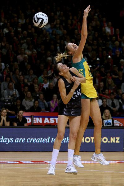 Anna Harrison (L) of New Zealand and Caitlin Bassett of Australia compete fot the ball during the Constellation Cup International Test match between the New Zealand Sliver Ferns and the Australia Diamonds on October 20, 2016 in Invercargill, New Zealand.
