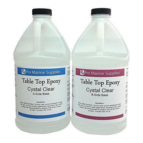 Epoxy Table Top Resin, 1:1, 1 Gallon Kit, Crystal Clear, Parts A & B Included, http://www.amazon.com/dp/B00RDHIPOG/ref=cm_sw_r_pi_awdm_Xp-nvb1SGBBNE