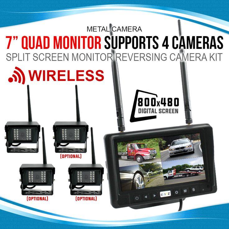 "Digital Wireless 7"" Quad Monitor Splitscreen CCD Reversing Camera 12V 24V 2.4GHz"