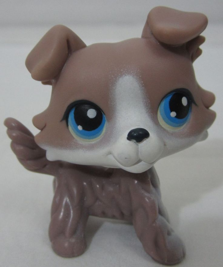 Littlest Pet Shop LPS #67 Collie Dog Tan White Blue Eyes #Hasbro