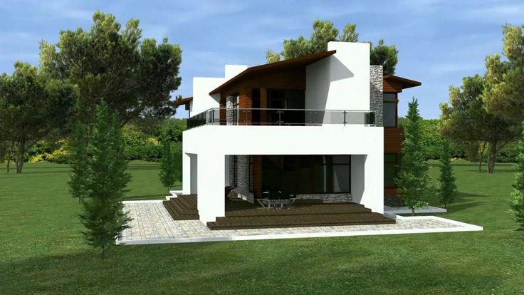 Строим дом. Проект двухэтажного дома с плоской кровлей и гаражом.