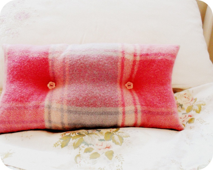 Soft Pink Wool Rug Cushion/Pillow by alittlevintagestore on Etsy