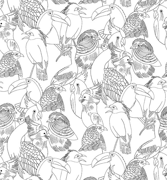 Papier peint Monoprix au style jungle tropicale avec un motif d'oiseaux noirs et blancs
