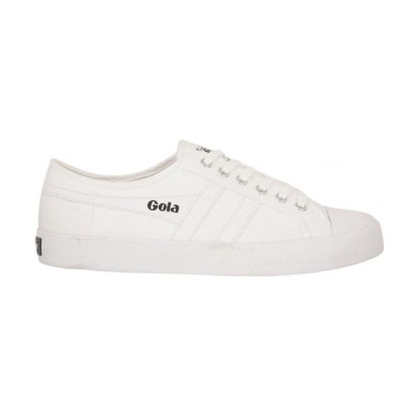 Women's Gola Coaster Sneaker ($60) ❤ liked on Polyvore featuring shoes, sneakers, casual, court shoes, white, white sneakers, white shoes, white flat shoes, white platform sneakers and white flats
