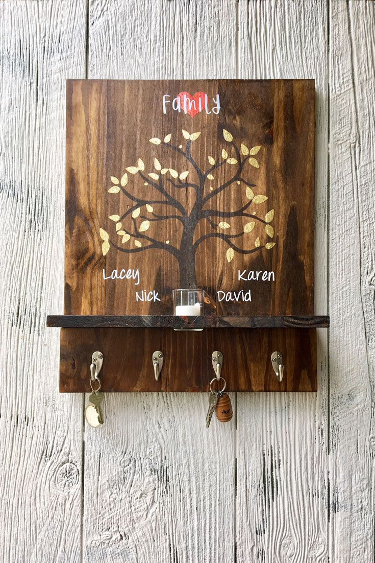 Rustic Wooden Key Holder Family Sign Family Tree Personalized Key Holder Candle Holder Entryway Entryway Signs Personalized Key Holder Wall Mounted Key Holder