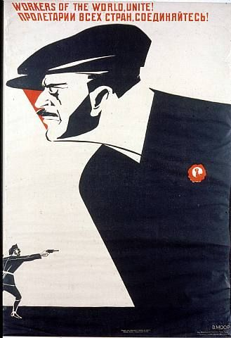 Dimitri Moor (or Dmitry Stakhievich Orlov) changed the face of graphic design in Soviet Russia back in 1918. His work dominated both the Bolshevik Era (1917–1921) and the New Economic Policy (1921–1927). The main theme of Moor's work is the stark contrast between the oppressive evil and the heroic allies. A lot of pressure was put on Russian workers to rise up against imperialism.