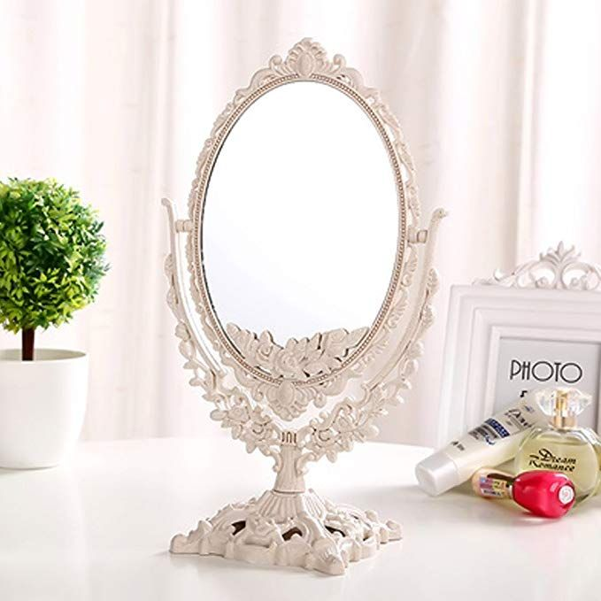 Gf Wood Women Makeup Mirror Vintage Floral Oval Round Handhold Mirror Princess Elegant Makeup Beauty Tools White Oval Review Beauty Mirror Mirror Table Makeup Mirror