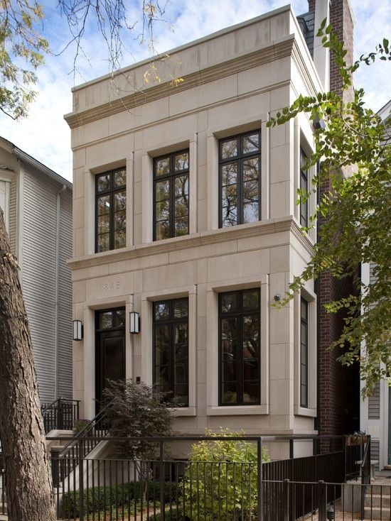 Exterior brownstone residential design images for Townhouse exterior design