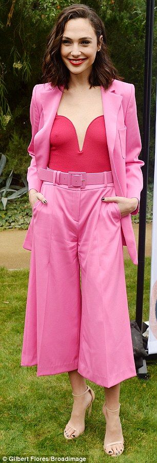 Think pink in a longline blazer like Gal. Click 'Visit' to buy now. #DailyMail