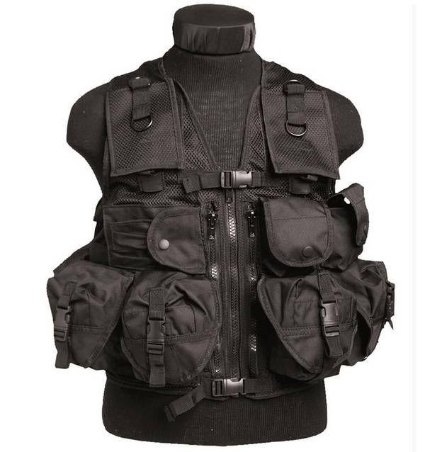 Mil-Tec Einsatzweste Tactical, 9-Taschen, schwarz / mehr Infos auf: www.Guntia-Militaria-Shop.de