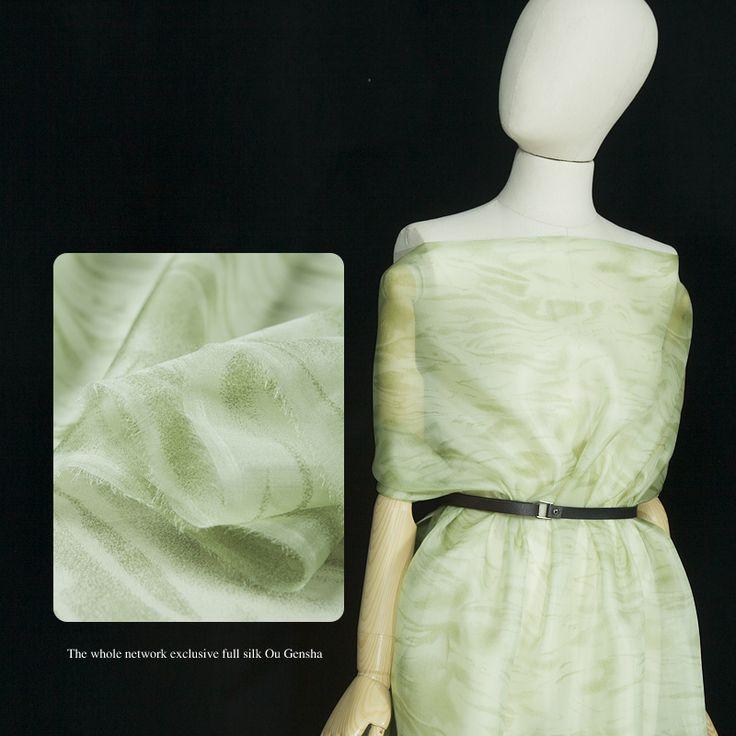 Напечатаны чистого шелковой органзы ткань, Чистой органза, Абстрактные принты, Светло-зеленый, Шить рубашки, Блузка, Юбка, Платье, Ремесла со двора