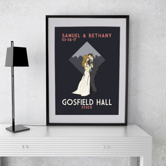 First Dance Wedding A4 Print.  Truly stunning print to remember a first dance.  This beautiful retro style wedding print can be personalised to add couples names, date and wedding venue. The hair colour on both the man and woman can be changed and a choice of print colour is available.
