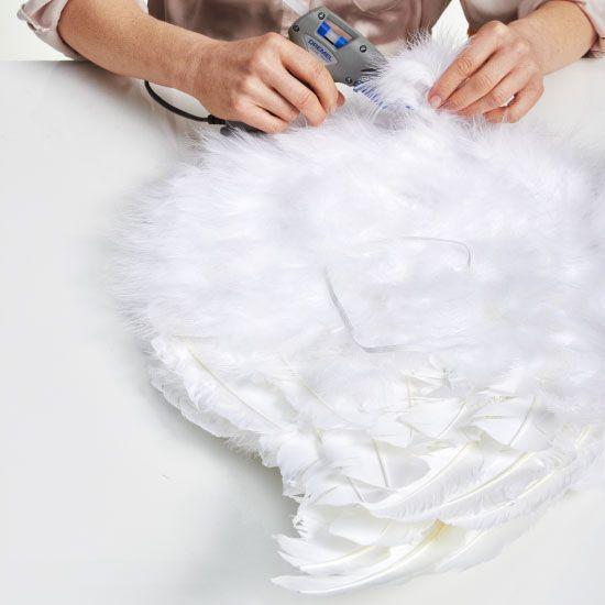diy halloween costume angel wings white craft feathers - Halloween Costumes Angel Wings