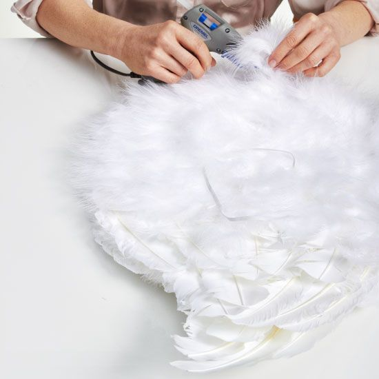 diy halloween costume angel wings white craft feathers