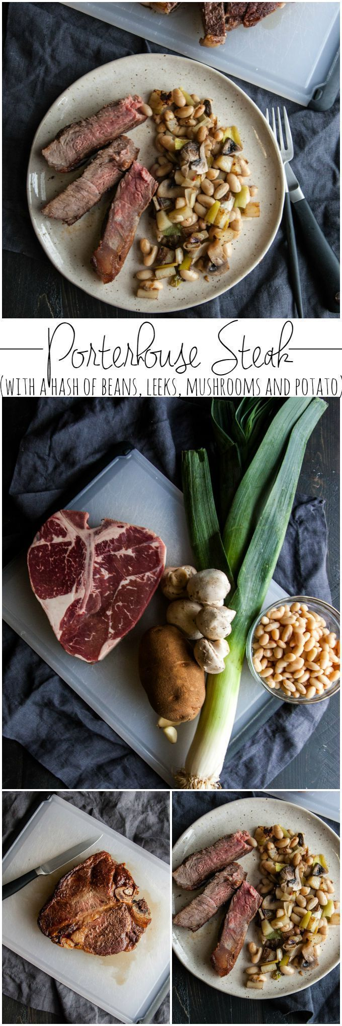 Porterhouse steak with a hash of beans leeks mushrooms and potato from @sweetphi, steak, gluten free dinner idea