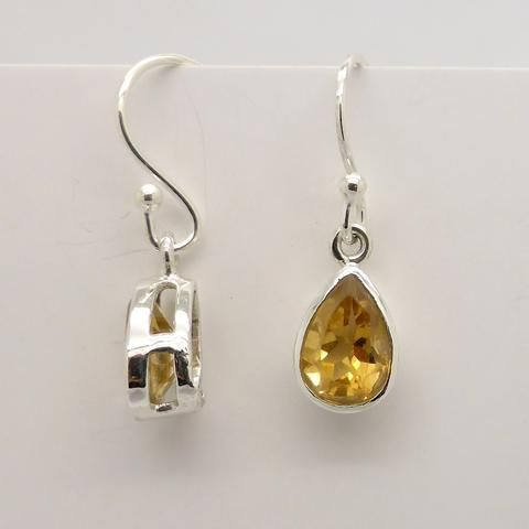 Earring Tear Pear small petite Citrine