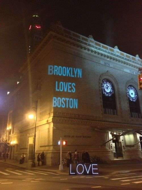 This projection on the Brooklyn Academy of Music. | Boston Marathon Tragedy Met With Unbelievable Acts OfKindness