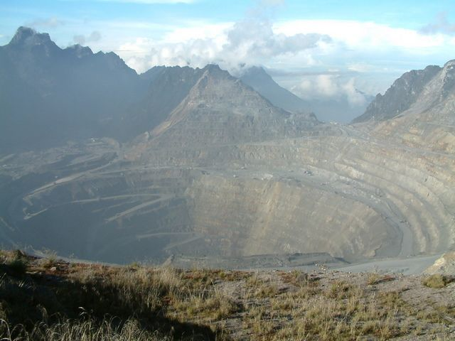 Most Incredible Open-Pit Mines: Grasberg Mine, Indonesia (source: wiki)