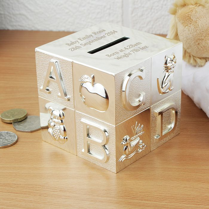 Personalised Silver ABC Cube Money Box  http://justtherightgift.co.uk/personalised-silver-abc-cube-money-box.html
