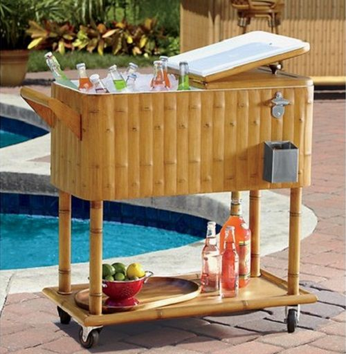 Captivating Outdoor Tiki Party Cooler Cart Barbecue Patio Furniture Big 80 Qt Ice  Chests NEW