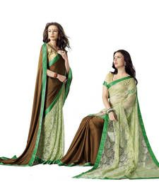 Buy Brown plain faux georgette saree with blouse georgette-saree online
