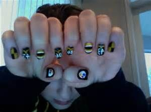 14 best pittsburgh steelers images on pinterest nail art nail pittsburgh steelers logo jersey and stripes december 2011 colors used sally hansen xtremewear in black out milani nail art in wh prinsesfo Choice Image