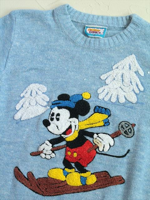 【S】70's VINTAGE SUNDAY COMICS ミッキーマウス柄 ニットセーター レディース 青 http://littletree-usa.com/products/detail.php?product_id=2264