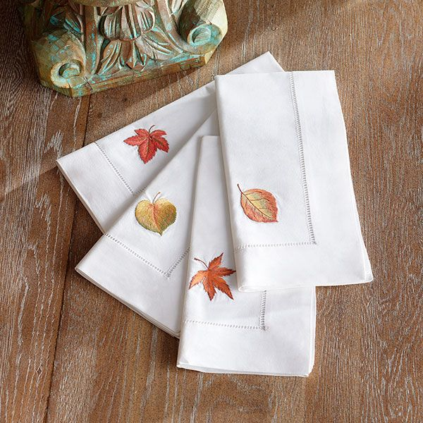 Wisteria - Accessories - Linens -  Autumn Leaves Napkins - Set of 4 - $39.00