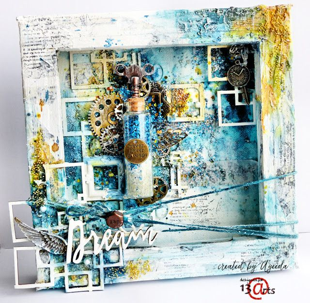 Mixed media canvas, a layout and few cards by Ayeeda