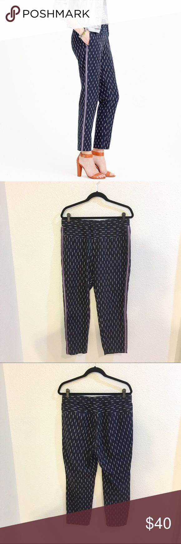 """J crew ikat jogger with tuxedo stripe Great J. Crew ikat print jogger. Has a cool tuxedo stripe down the side. Elastic waist and pockets. Size Large. Waist is 16 1/2""""  inseam is 26"""" J. Crew Pants Track Pants & Joggers"""