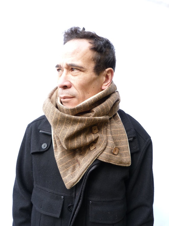 """Mens Infinity Scarf Brown/Beige Pinstripe Tweed   Fully lined with a super snuggly soft fleece fabric, fastens with 3 wooden buttons which makes the scarf versatile. The scarf is designed to twist and wrap around the neck twice.  Measurements - 12"""" x 56"""""""