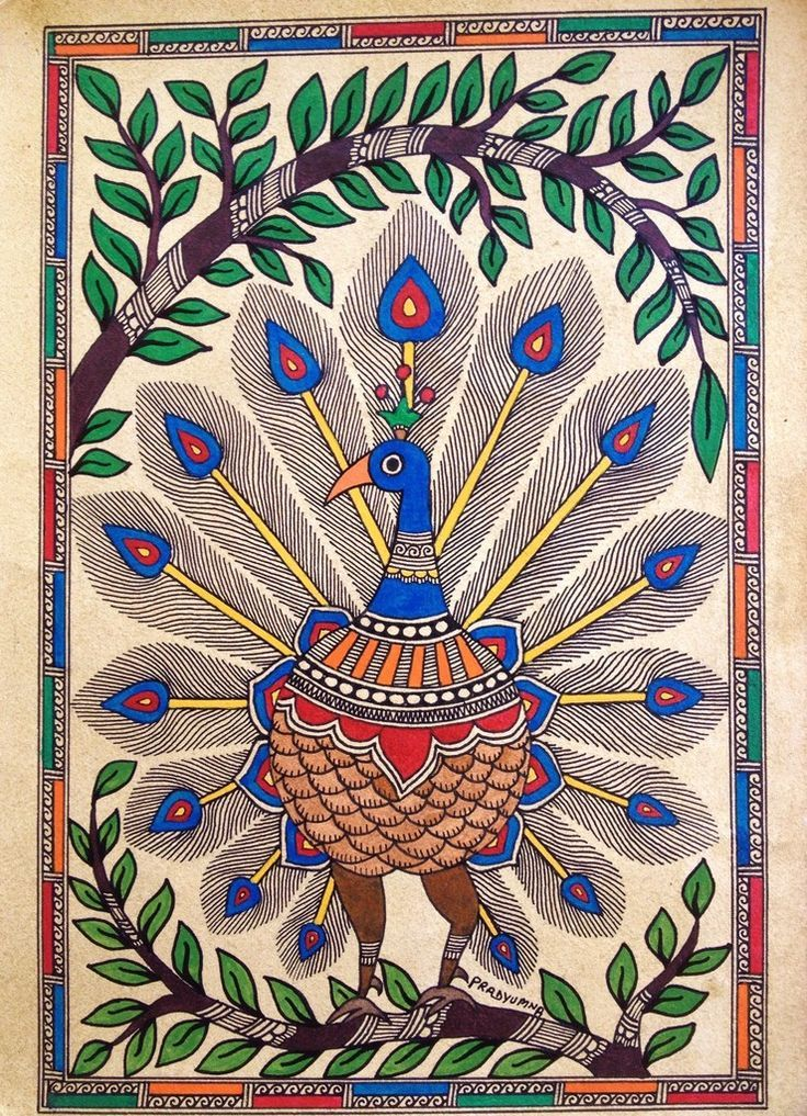 Madhubani Paintings Sketch Peacock in plume' in the madhubani style & tradition. art