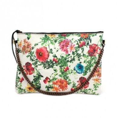 Flower Clutch <3 Cowhide leather clutch with printed flower texture. Antiqued bronze chain -  size cm 25 x cm 18