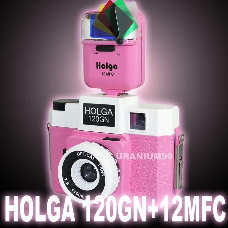 Holga 120 GN Lomo Toy Medium Format Film Camera Glass Optical Lens ( Pink ) + 12MFC 5 Color Flash Lomography-in Film Camera from Consumer El...