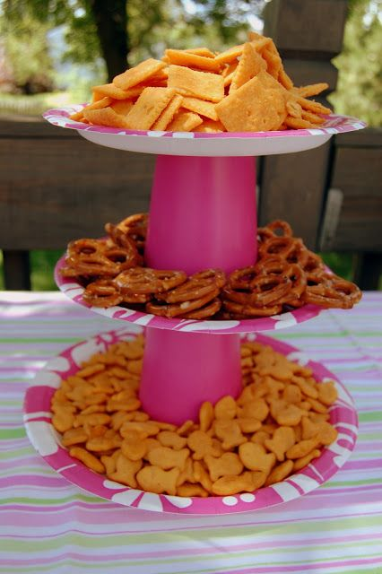 Paper plates supported by plastic cups!  Cheap snack tower for a party!!
