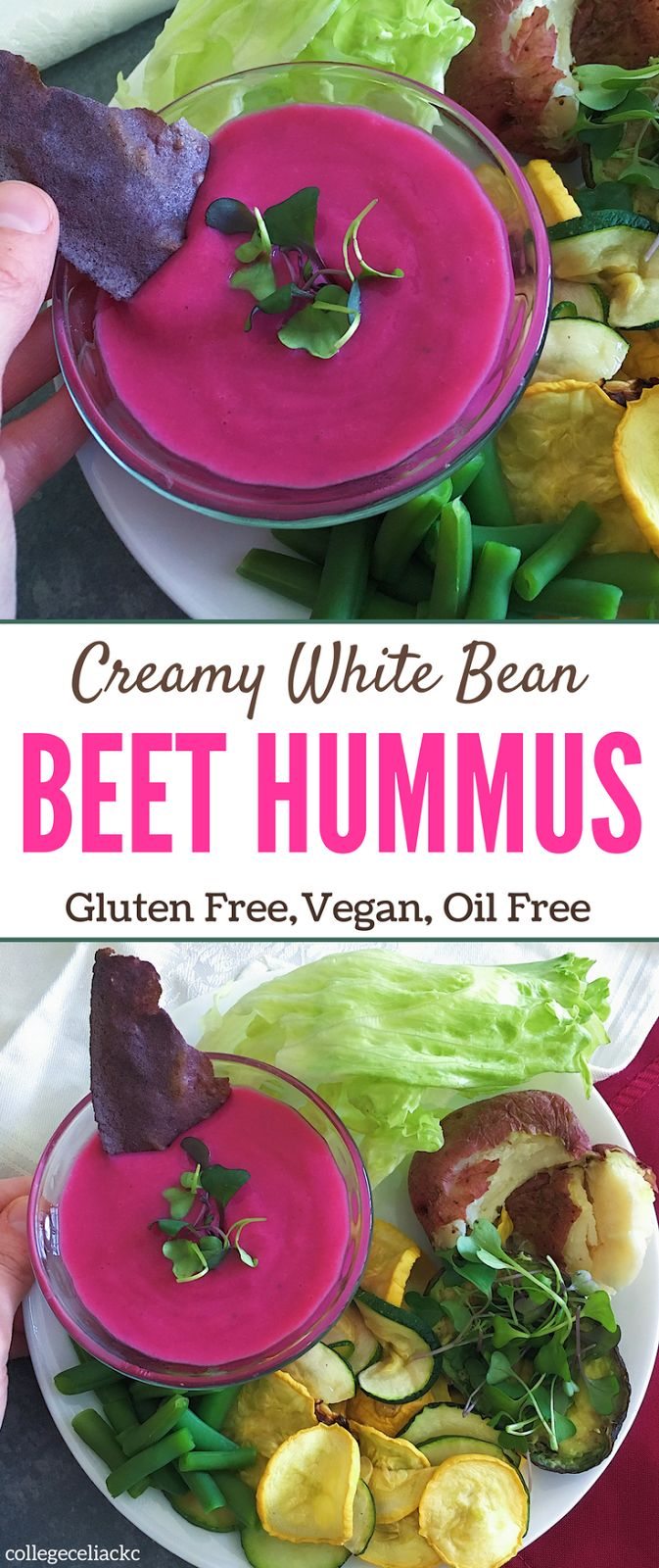 Is hummus vegan? Is hummus gluten free? Well, this creamy white bean beet hummus recipe is both - and it's as delicious as it is allergy friendly! This vegan hummus uses white navy beans instead of chickpeas and features beets for a gorgeous pink color (and some extra nutrition). If you're looking for a simple hummus recipe that's perfect for a gluten free or vegan diet, this gluten free dip is exactly what you need.