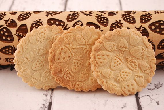 STRAWBERRY FIELD embossing rolling pin by MoodForWood on Etsy