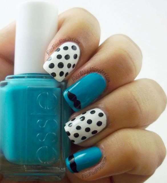 Miss Mani Monster!: Polka Dots & Mustaches!