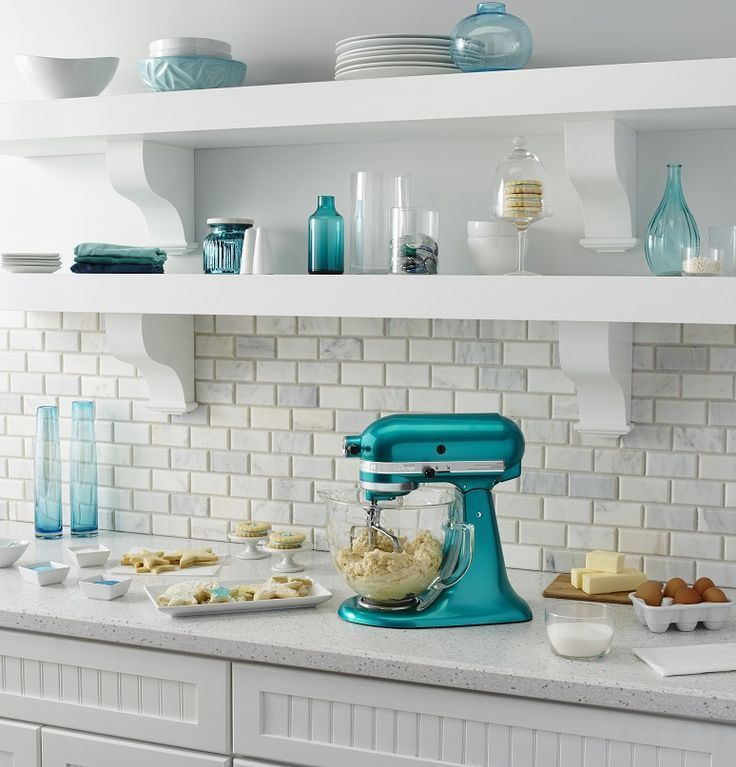Gorgeous Blue Green Kitchen Color Scheme With KitchenAid Mixer