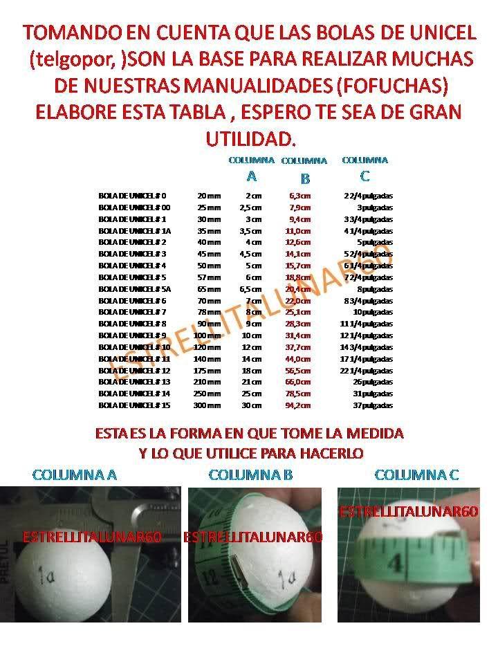 TABLA DE MEDIDAS DE BOLAS DE UNICEL O TELGOPOR | Invitado