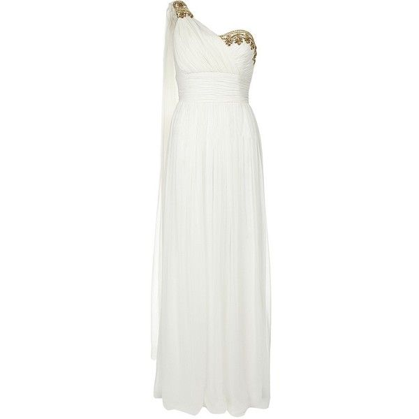 Notte by Marchesa Embellished One Shoulder Gown ($1,280) ❤ liked on Polyvore
