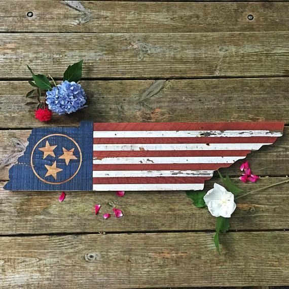 Tennessee State Wall Art American Flag Tennessee Tn Flag Wall Hanging Tenn In 2020 Wooden American Flag State Wall Art American Flag Wall Art